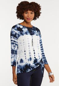Plus Size Tie Dye Cinched Top