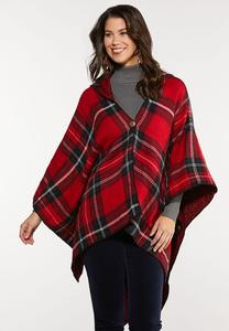 Hooded Red Plaid Poncho