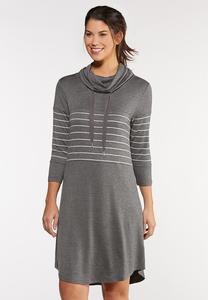 Cowl Neck Stripe Dress