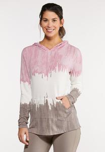 Plus Size Dip Dye Hooded Top