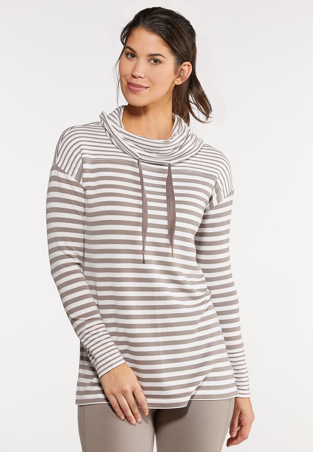 Plus Size Stripe Cowl Tunic Top