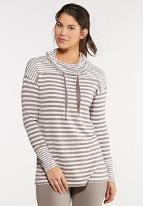 Plus Size Stripe Cowl Tunic Top
