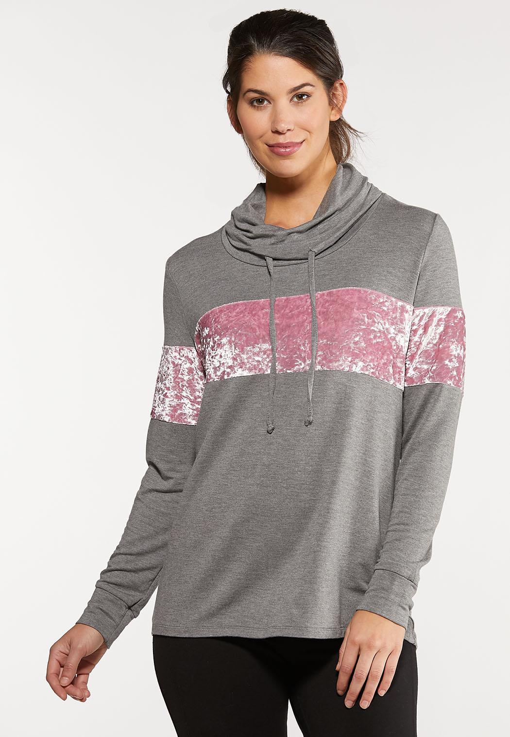 Plus Size Velvet Cowl Neck Top
