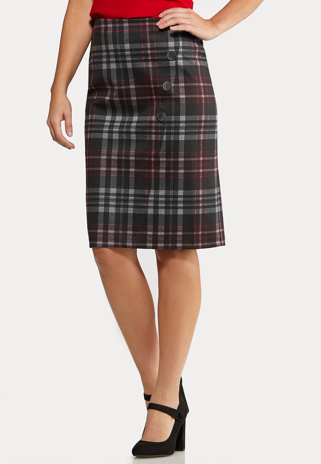 Button Plaid Pencil Skirt
