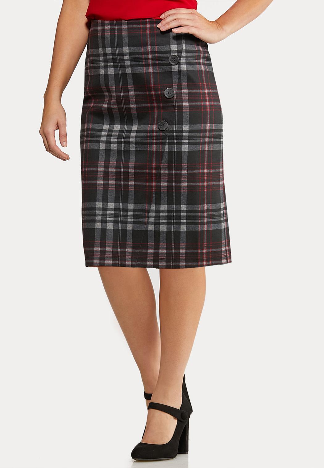 Plus Size Button Plaid Pencil Skirt