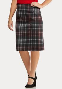 Plus Size Button Plaid Pencil Skirt