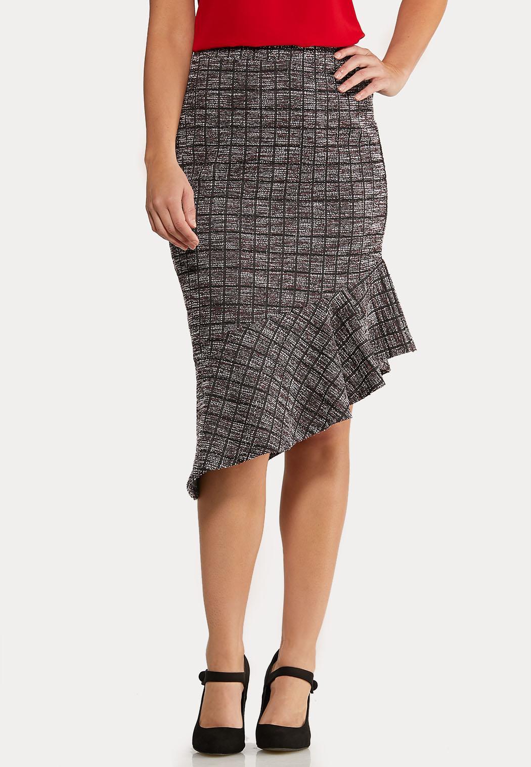 Flounced Boucle` Midi Skirt