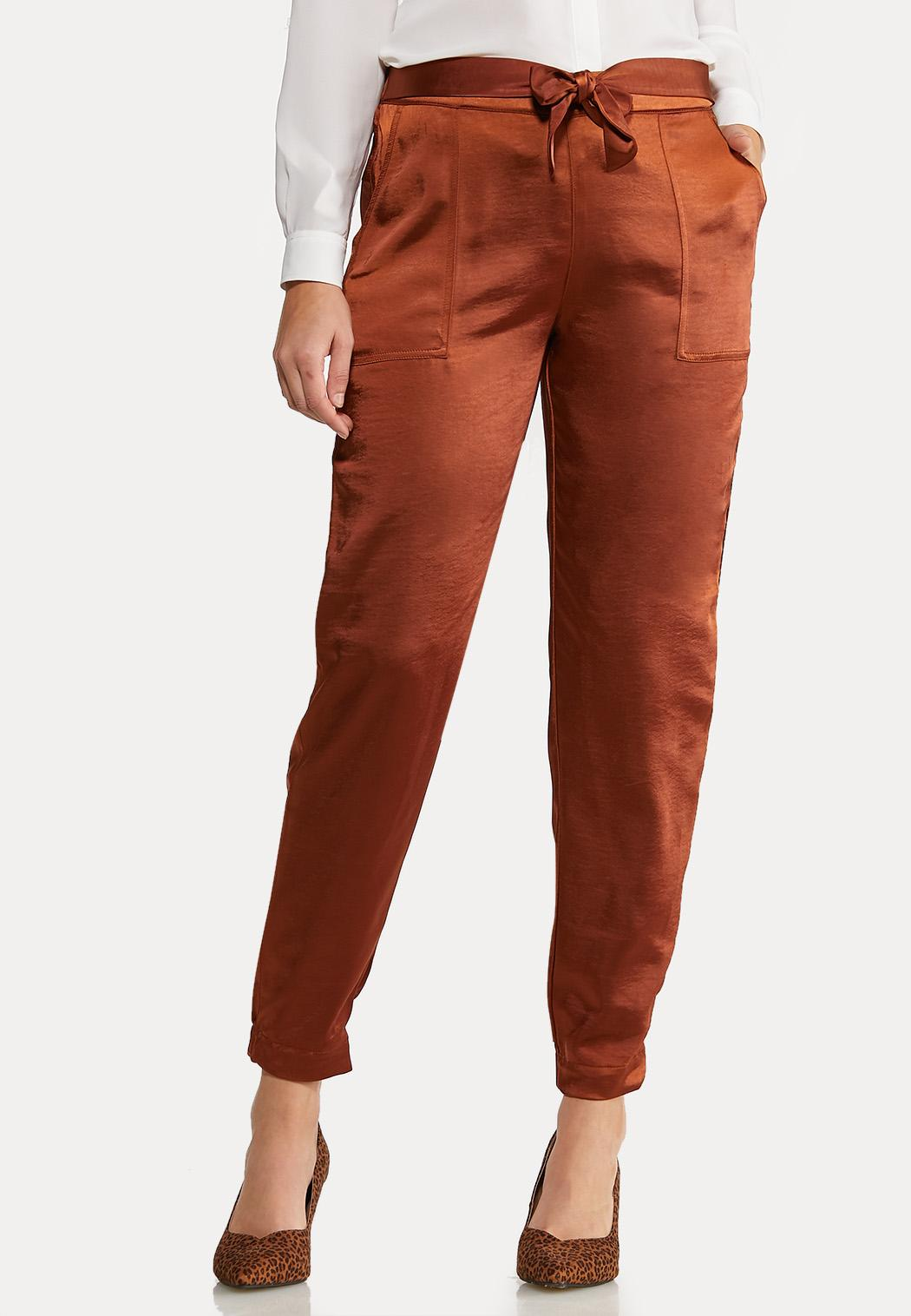 Belted Satin Joggers