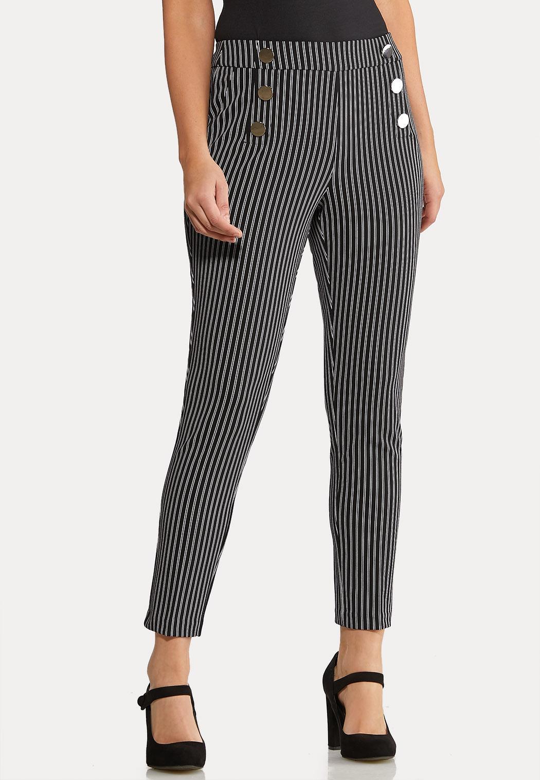 Petite Stripe Silver Button Pants