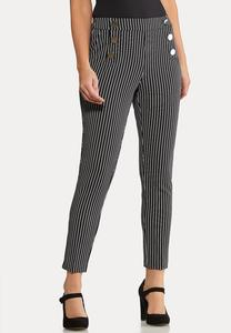 Petite Stripe Silver Button Pants