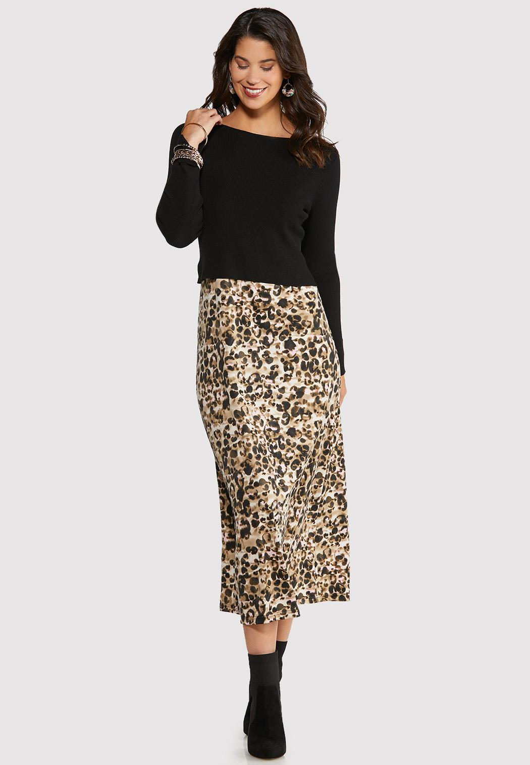 Leopard Slip and Sweater Dress Set
