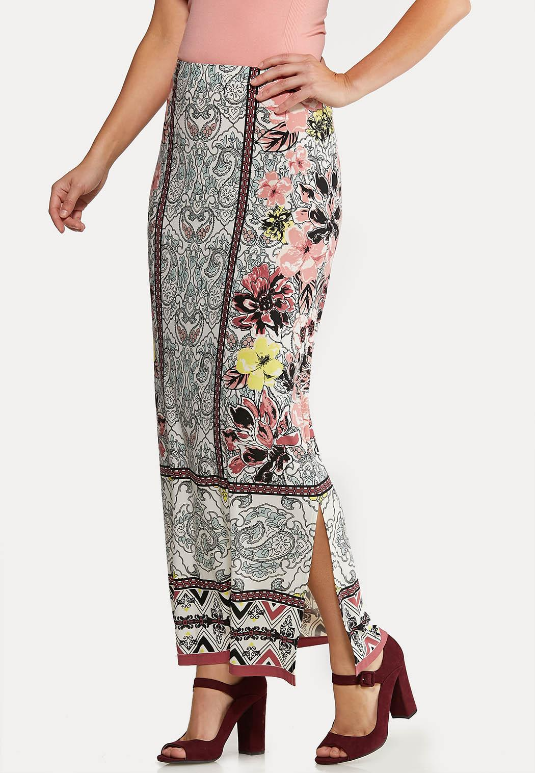 Plus Size Spring Floral Maxi Skirt