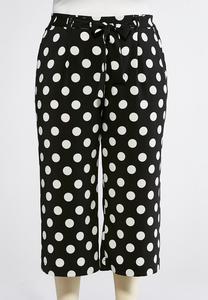 Plus Size Polka Dot Cropped Pants