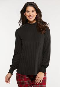 Ribbed Smocked Trim Top