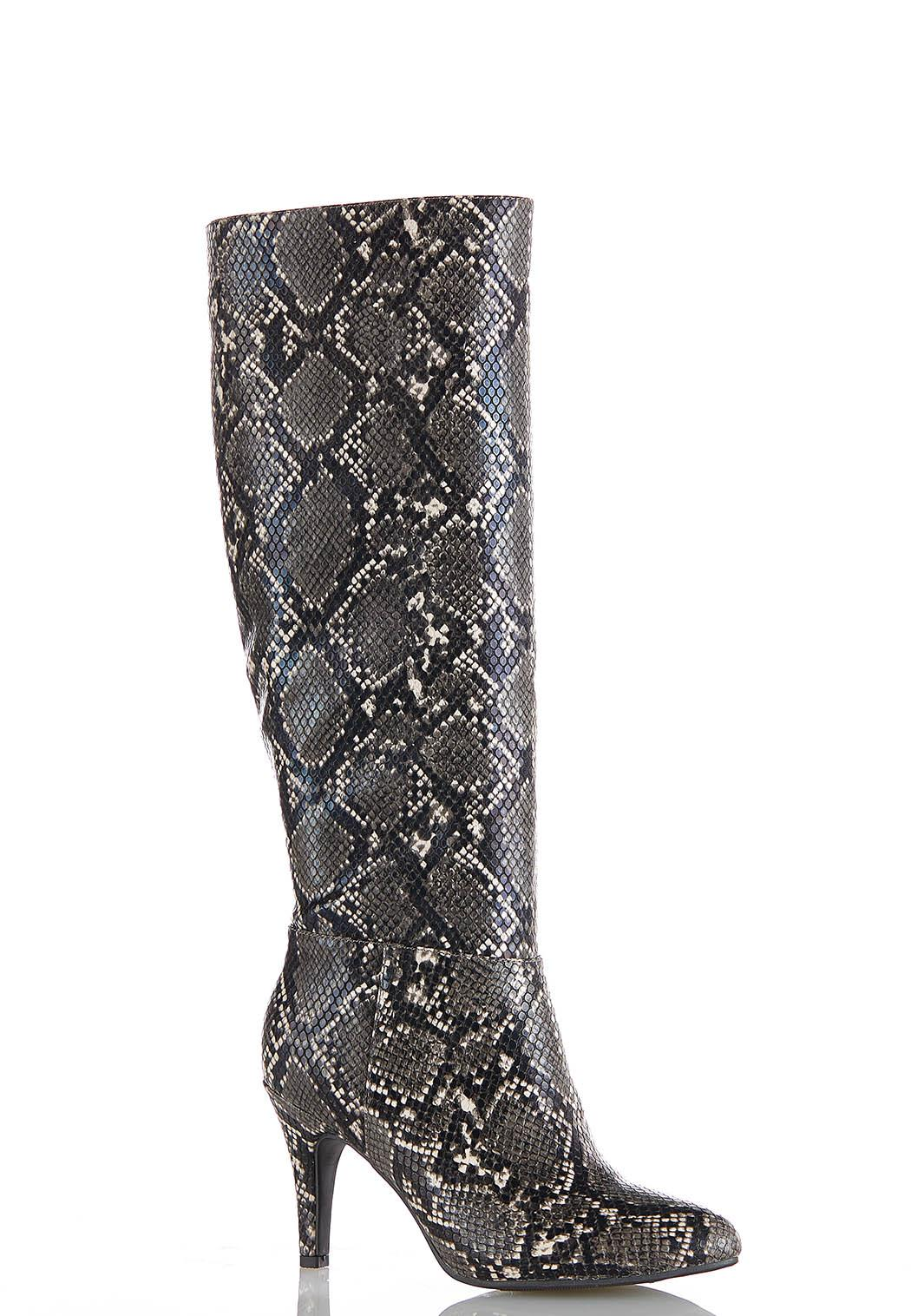 Wide Width Snakeskin Tall Boots