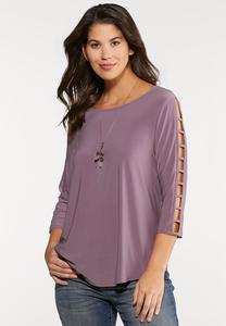 Plus Size Lavender Lattice Sleeve Top