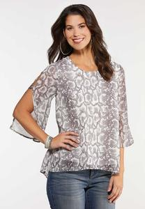 Snakeskin Slit Sleeve Top