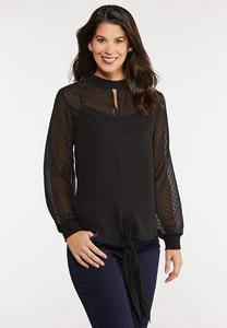 Plus Size Textured Tie Front Top