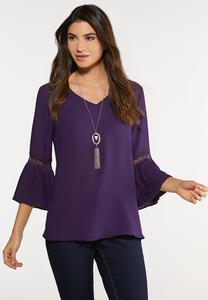 Purple Pleated Sleeve Top