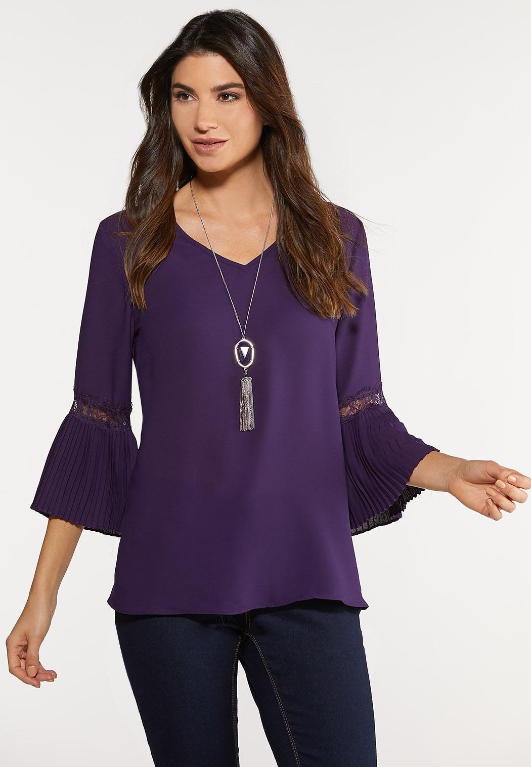 Plus Size Purple Pleated Sleeve Top Shirts & Amp ; Blouses Cato Fashions
