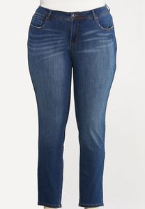 Plus Size Distressed Pocket Skinny Jeans
