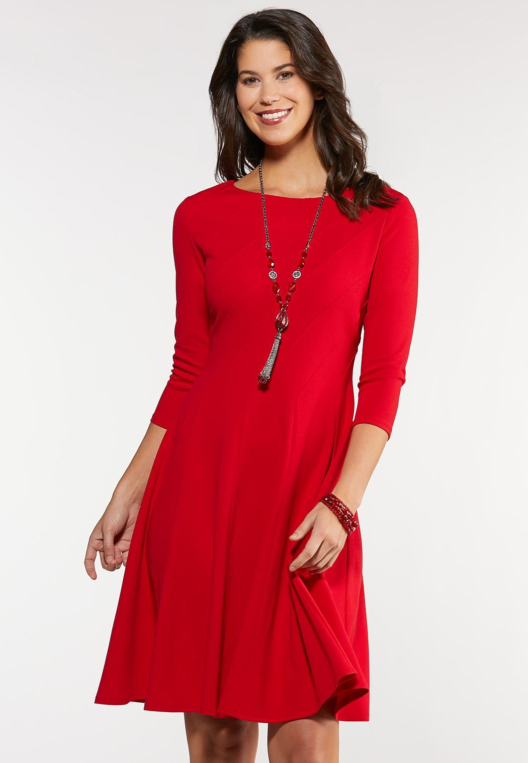 Plus Size Red Seamed Midi Dress Plus Sizes Cato Fashions