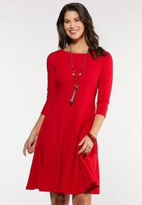 Plus Size Red Seamed Midi Dress