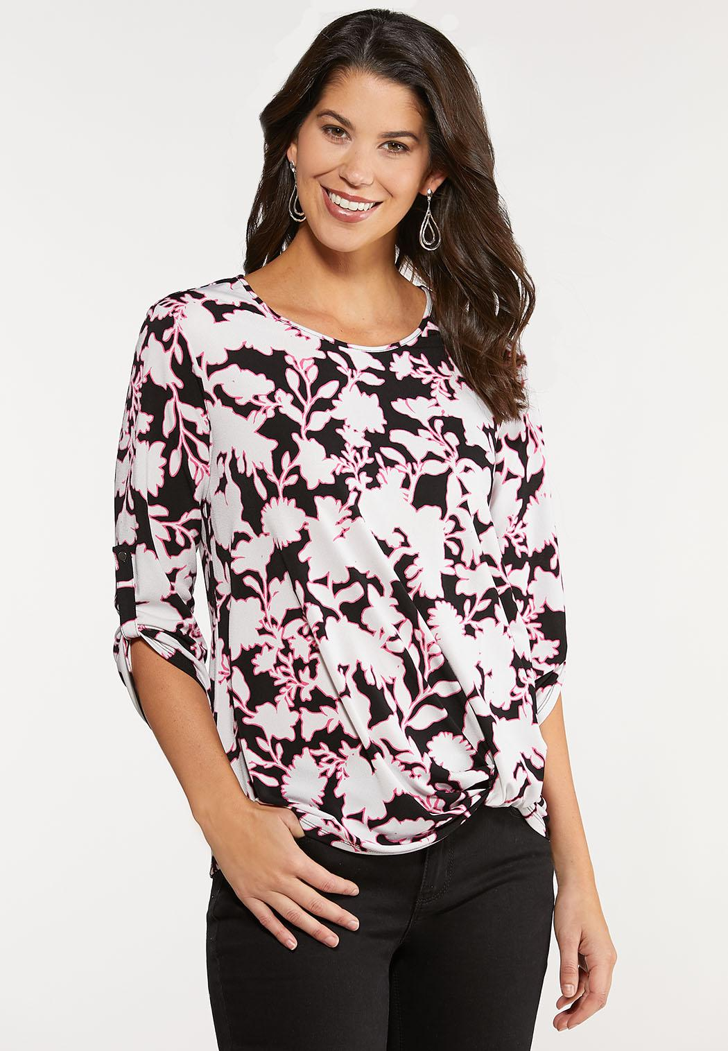 Plus Size Floral Scrunch Hem Top