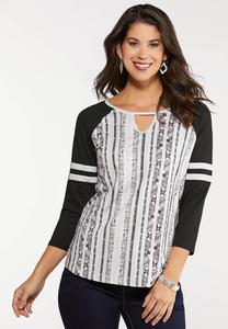 Plus Size Sporty Snake Stripe Tee