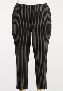 Plus Size Pinstripe Ankle Pants