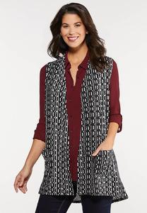 Plus Size Black White Geo Knit Vest