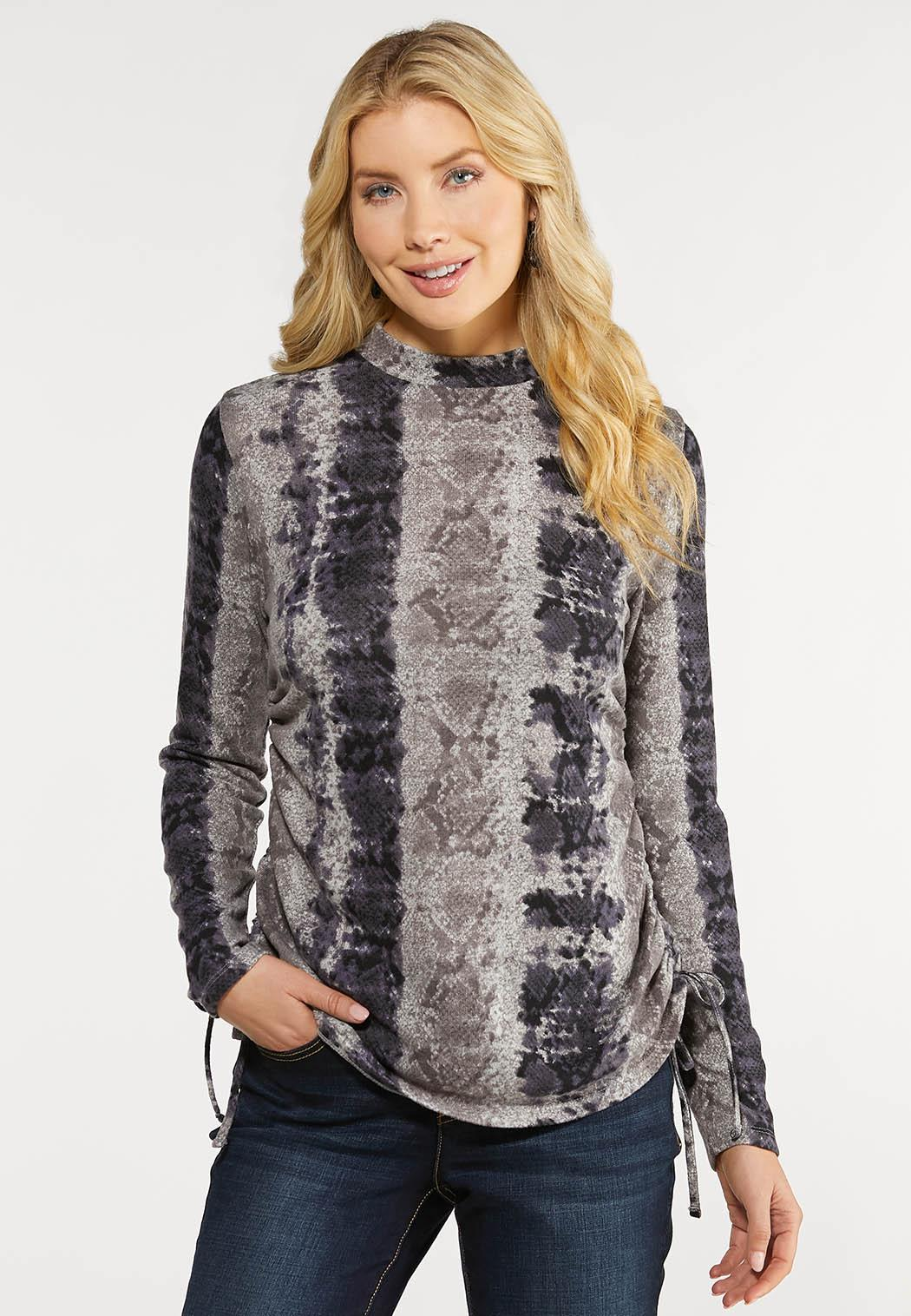 Plus Size Ruched Snake Hacci Top