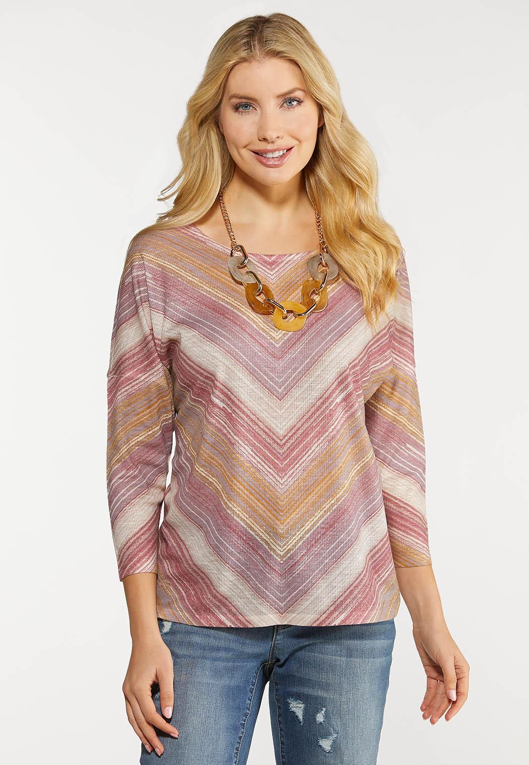 Lavender Mitered Stripe Top