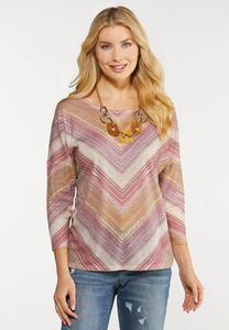 Plus Size Lavender Mitered Stripe Top