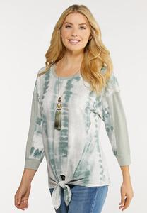 Plus Size Green Tie Dye Knotted Top