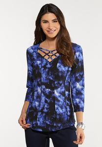 Plus Size Criss Cross Ribbed Top