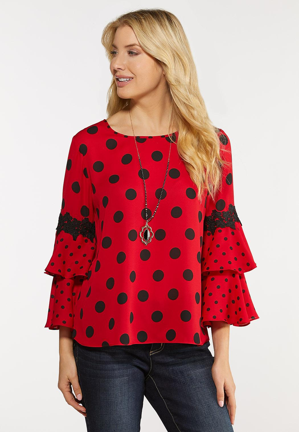 Plus Size Dotted Ruffled Sleeve Top