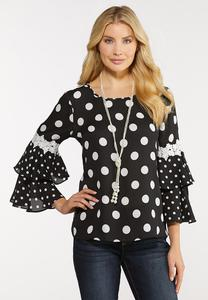 Plus Size Black And White Dotted Top