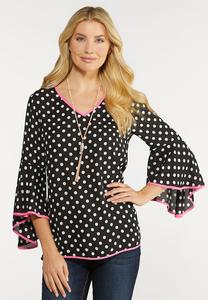 Piped Polka Dot Top