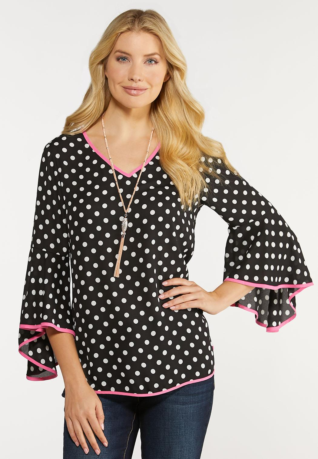 Plus Size Piped Polka Dot Top