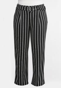 Plus Size Stripe Belted Pants