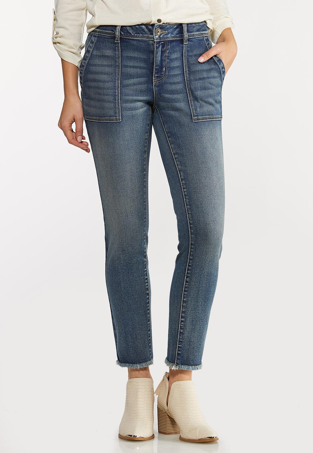 Fray Hem Utility Jeans