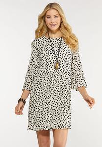 Plus Size Pleats And Dots Swing Dress