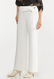 Side Button Wide Leg Pants