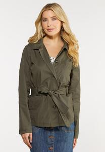 Plus Size Belted Utility Jacket