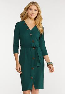 Button Wrap Tie Dress