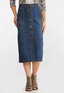 Plus Size Denim Utility Skirt