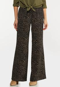 Dotted Crepe Palazzo Pants