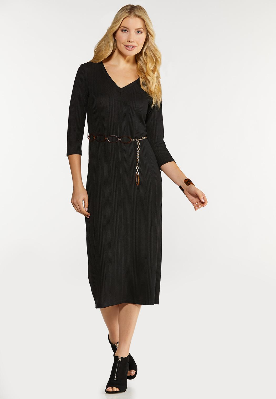 Plus Size Belted Ribbed Midi Dress