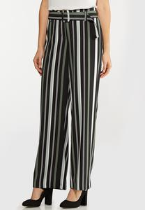 Green Stripe Wide Leg Pants